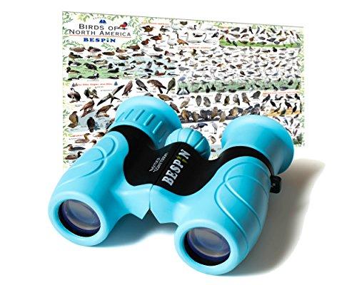 BESPIN Binoculars for Kids 8x21 Bird Watching, High-Resolution Real Optics for Wildlife Watching with Reversible Bird Map - BL -