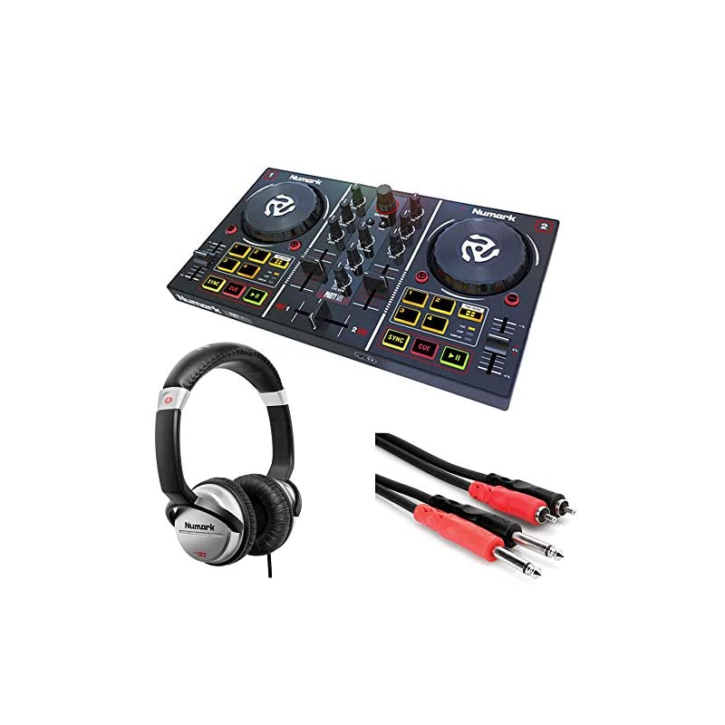 Numark Party Mix: Starter DJ Controller with Built-In Sound Card & Light Show + Stereo Interconnect Cable + DJ Headphones