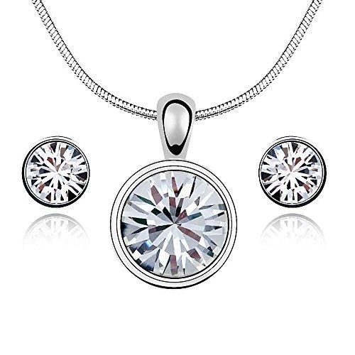 Gepardini White Diamond Glamour Set mit Swarovski Kristalle, Silberne Halskette und passende Ohrstecker, Handarbeit, hochglanzpoliert