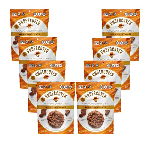 UNDERCOVER CHOCOLATE QUINOA CRISPS | Milk Chocolate | Gluten Free Crispy Quinoa chocolate snacks | Kosher, Allergen Friendly, Nut Free | 8 Pack of 2oz Bags