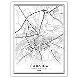 Póster de mapa de España en blanco y negro de la Ciudad del Mundo, impresiones en lienzo y pósteres, para decoración del hogar, sin marco (BADAJOZ, 50 x 70 cm)
