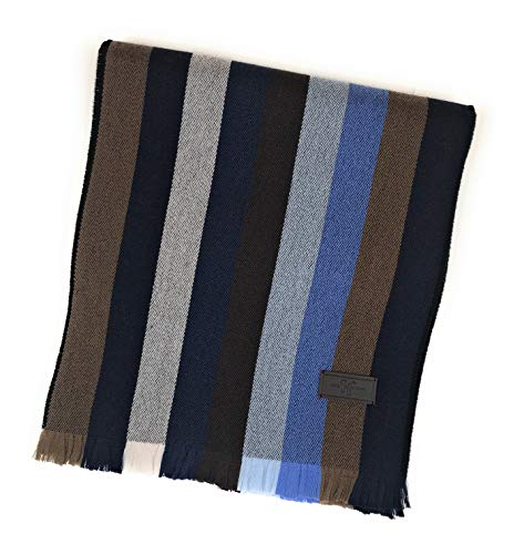 Men's Wool Scarf – Navy and Brown Multi Strpe, 100% Australian Merino Wool, 72 inches x 10 inches, by Hickey Freeman