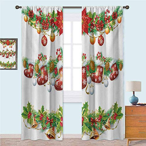 YUAZHOQI Curtains for Living Room, Traditional Garland Designs with Flowers Socks and Bells Mistletoe Candy, 2 Panels W52 x L63 Inches Noise Reducing Curtain, Orange Red Green