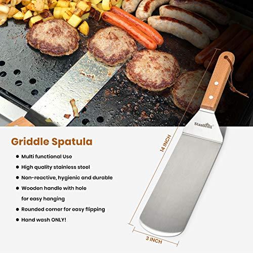 51t69UX1mKL. SL500  - Stanbroil Grill-Zubehör Spatel Werkzeuge für Blackstone und Camp Chef Grill, Set von 3 Edelstahl-Grill-Werkzeugen für Blackstone und Camp Chef Flat Top BBQ Kochen Camping