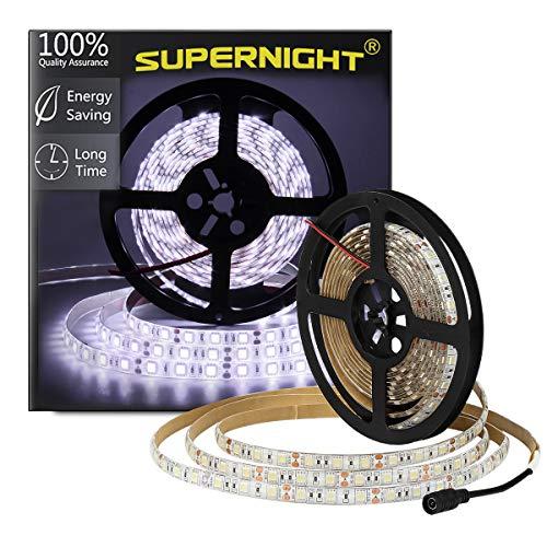 SUPERNIGHT LED Light Strip, 16.4ft/5M SMD 5050 60Leds/M Blue Waterproof Led Flexible Flash 300 LEDs Rope Lights (Cool White)