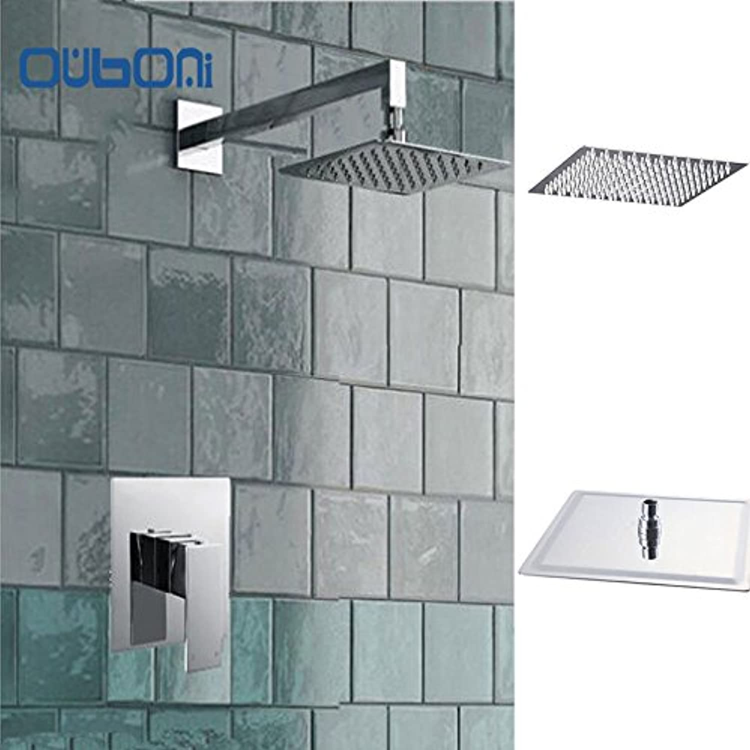 8 Inch Shower Head Luxury Wall Mounted Square Style Brass Waterfall Shower Set Factory Direct New Rainfall Bathroom Shower Kit