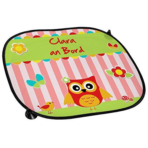 Auto-Sonnenschutz mit Namen Clara und schönem Eulen-Motiv für Mädchen - Auto-Blendschutz - Sonnenblende - Sichtschutz
