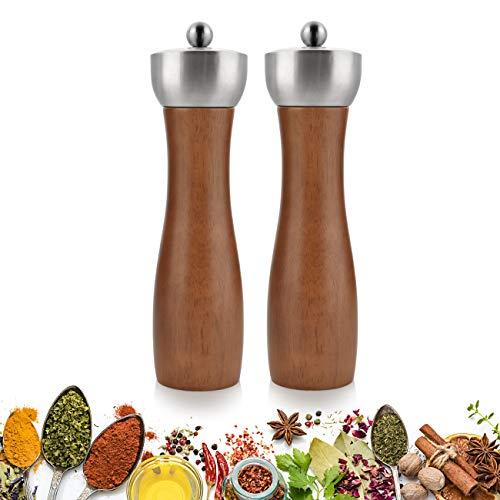 OIZEN Salz und Pfeffermühle 2er Set Pfeffermühle Salzmühle, mit Verstellbarem Keramikmahlwerk Gewürzmühle Salzmühle Haushaltsschleifer für die Küche
