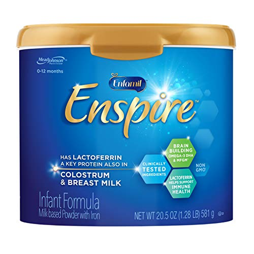 Enfamil Enspire Baby Formula with Lactoferrin (found in Colostrum & Breast Milk) Milk Based Powder, 20.5 Ounce Reusable Tub, Dual Prebiotics, Brain Building & Immune Support, DHA, Iron, Non-GMO, MFGM