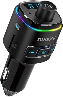 Transmisor FM Bluetooth, NULAXY Manos Libres Coche Mechero QC3.0 con 7 Colores LED retroiluminado, Apoyo Reproductor MP3, ...