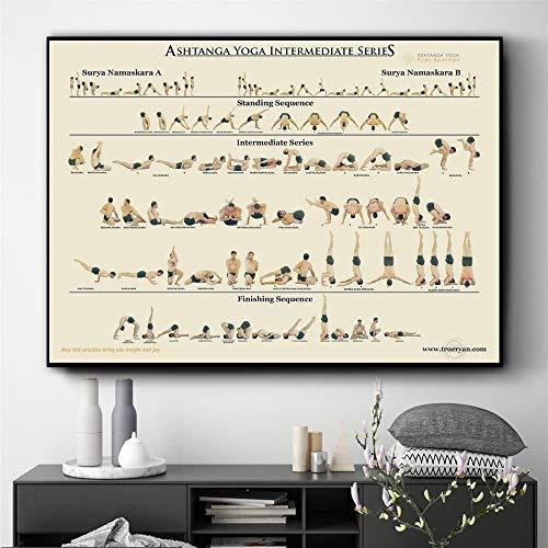 ganlanshu Yoga Grundschule Grundschule Plakate und Drucke Wanddekoration Malerei auf Leinwand Wohnzimmer Hauptdekoration,Rahmenlose Malerei-40X60cm
