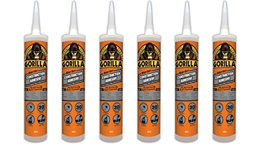 Gorilla Heavy Duty Construction Adhesive, 9 ounce Cartridge, White, (Pack of 6)