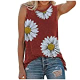 Tank Tops for Women, OutTop Womens Summer Sleeveless Tops Casual Loose Fit Plus Size Sunflower Printed Tee Shirts (A-Red, M)