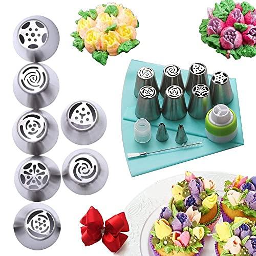 Bequee Mondschaufel Spritztüllen Set aus Edelstahl (13 teilig) für Cupcakes & Kuchen Dekoraktion