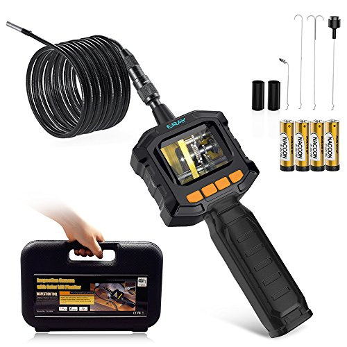 ERAY Flexible Pipe Borescope Inspection Camera with Lights, Handheld 3.3 Feet Waterproof Industrial Endoscope with Color LCD Screen, Tool Box and Battery Included