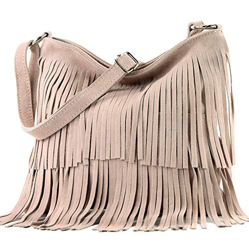 Ital. Borsa a tracolla in pelle Frans borsa tracolla donna borsa in pelle scamosciata T125, Colore:Rosa beige chiaro