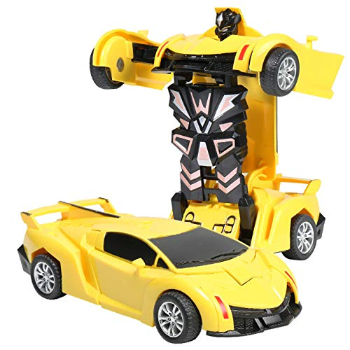 Deformation Car Model Toy, Mingbai Pull Back Collision Inertial Car Crash Transform Car Robot Toy with One Button Transformation, for Kids, Children and Toddlers 1:32 Scale (Yellow)