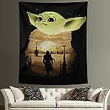 Baby Yod_a - Tapiz para colgar en la pared, diseño de Mandalori_an Star Wars para sala de estar, dormitorio, fiesta de cumpleaños, regalo de 127 x 152 cm