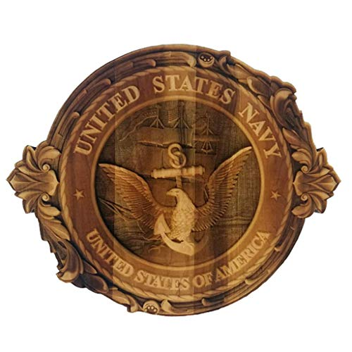 3D Engraved U.S Navy Crest Cutout Hard Maple Wood U.S. Navy Crest Custom Made Military Emblem Veteran Memorabilia Patriotic Symbol U.S. Navy Crest (12')