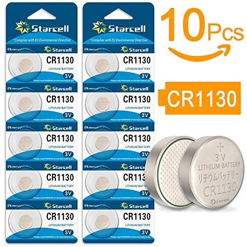 10 x CR1130 3 V Lithium Button Cell 3 mAh (Blister Ercard 5 Batteries Pack of 10)