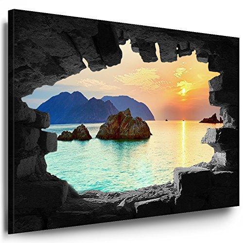 Julia-Art Bilder XXL Leinwandbilder Wand Loch Illusion - 80 x 100 cm Wandbilder mit Keilrahmen Bild Verschiedene Motive Blick auf Meer Strand Palmen, Wald Berge See Wasserfall Kunstdrucke n-01-12
