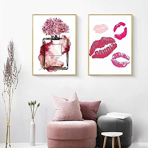 ZLARGEW Cartel de Moda Botella de Perfume Peonía Flor Lienzo Pintura Labios Impresión Arte de la Pared Imagen Vogue Modern Girls Room Salon Decoración / 30x40cmx2 Sin Marco