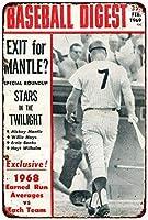 Shimaier 壁の装飾 メタルサイン Mickey Mantle Baseball Digest 1969 ウォールアート バー カフェ 縦20×横30cm ヴィンテージ風 メタルプレート ブリキ 看板