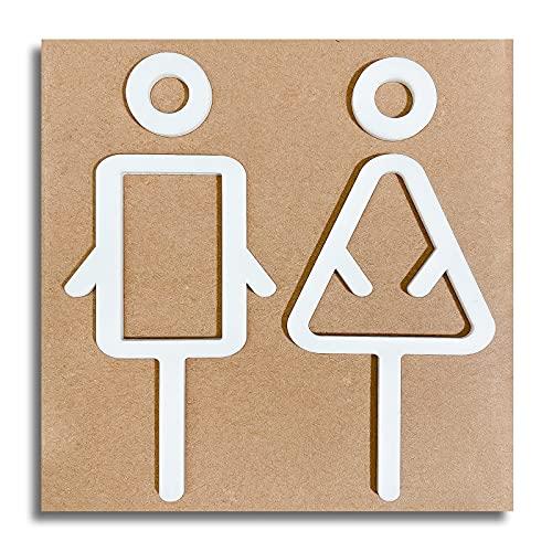 ALANICE トイレサインステッカー Men Women おしゃれデザイン アクリル製人気のトイレマーク シール式取り付け簡単トイレプレート 3点セット (白)