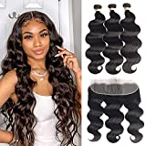 Alidiamond Brazilian Human Hair 8A Body Wave Bundles with Frontal(20 22 24+18 Inch), 13×4 Lace Frontal 100% Unprocessed Human Hair Extension Hair Weave 3 Bundles with Lace Frontal
