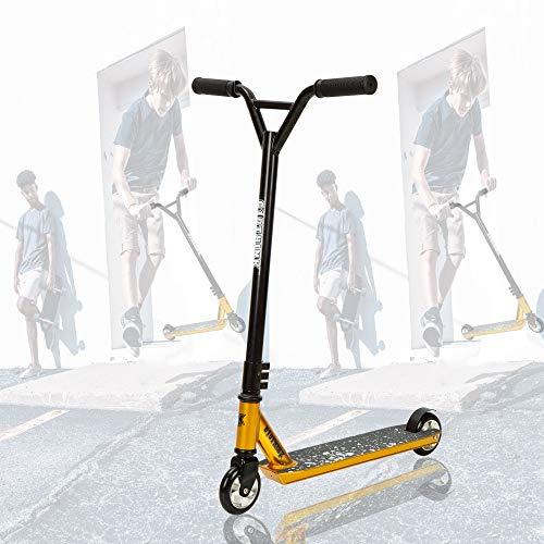 Clothink Universal Pro Stunt Scooter Gold - Stunt Roller mit 100 mm PU Räder für ab 7 Jahren (für 120cm bis 185cm) Freestyle, Tricks, Hochleistung Tretroller
