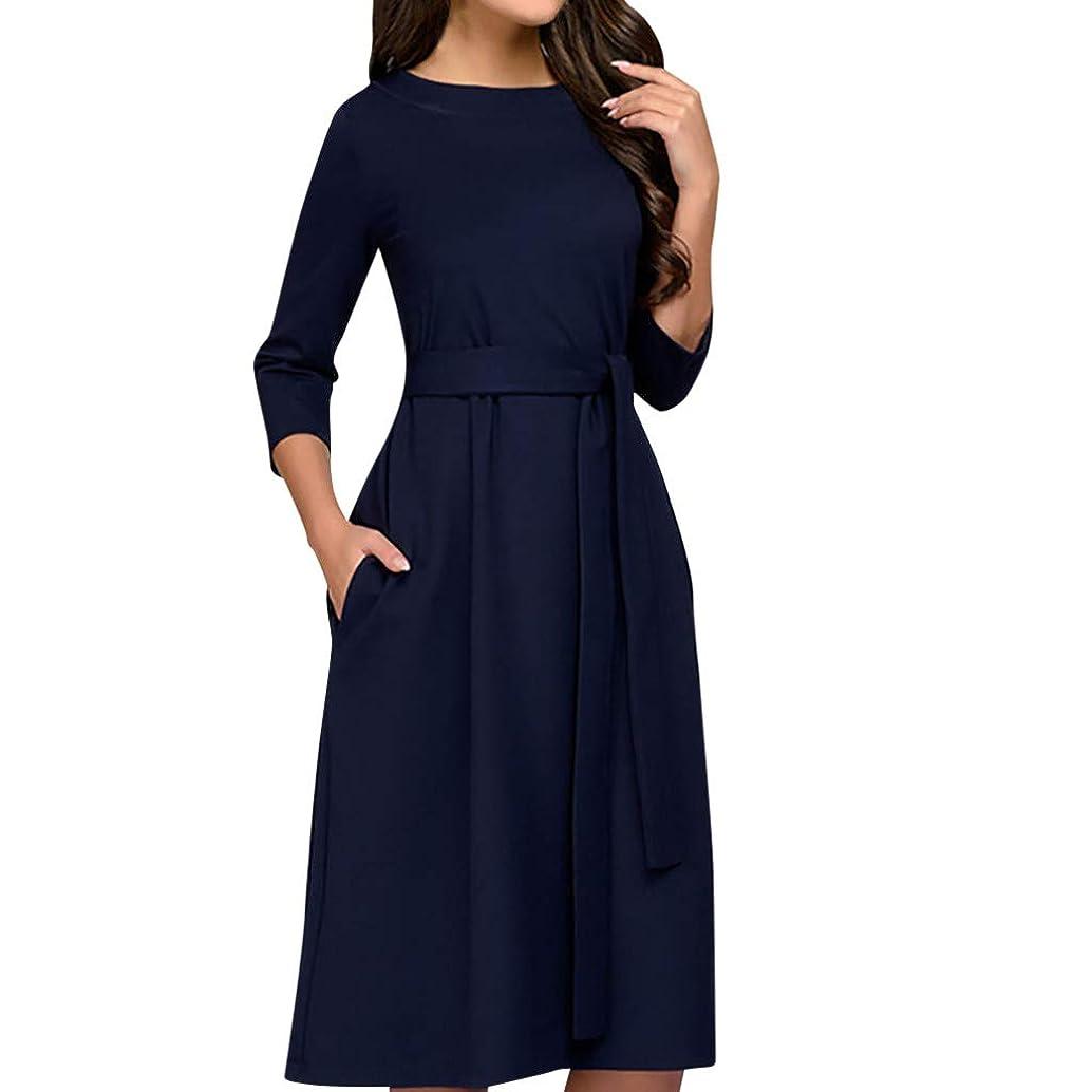 Veodhekai Womens Dress Vintage Wear Before and After Elegant Slash Sashes A-Line Casual Dress