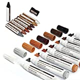 Wood Filler Sticks Touch Up Repair Kit Wood Furniture Scratches Restore Sticks and Markers for Hardwood Oak Wood Floors, Stains, Tables, Desks, Used for Any Wood, 17Pc Set