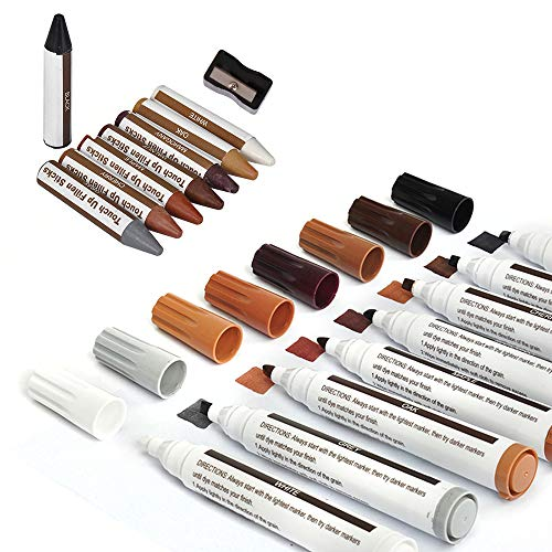 Wood Furniture Touch Up Repair Kit Sticks and Markers for Wood Floors, Stains, Tables, Desks, Used for Any Wood, 17PCS Set