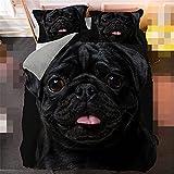 Juego de ropa de cama 3D lindo pug cachorro king size decoración del hogar perro reina funda de edredón funda de almohada