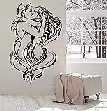 Pareja amorosa tatuajes de pared mujeres hombres beso apasionado pegatinas de pared decoración del dormitorio papel tapiz de vinilo extraíble 66 * 42Cm