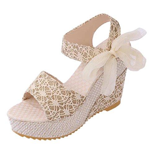 Minetom Sandalias con Cuña Mujer Verano Dulce Encaje Arco Peep Toe Zapatos Chancletas Zapatillas Playa Boda Albaricoque EU 37