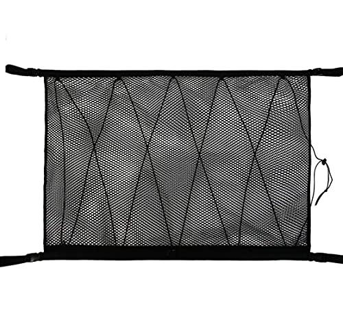Red de almacenamiento de techo para automóvil, todoterreno, diseño de doble cremallera para evitar caídas, para poner colcha, artículos ligeros, artículos varios, (color negro)