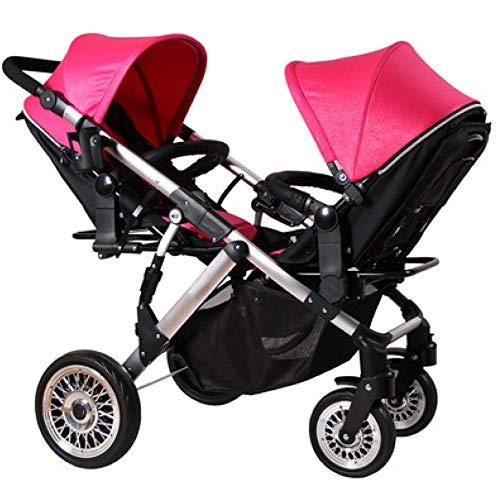 WWSC Geschwisterkinderwagen, Babys und Kleinkinder, Seite an SeiteUltraleichte Faltbare Kind Trolley Kann Halb Liegend 0-3 Jahre alt(Maximales Baby 50Kg)-sicheres Zuhause A