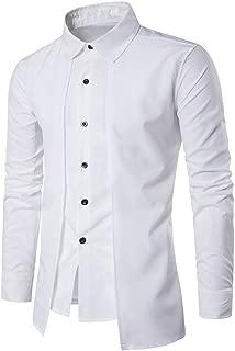 iYBUIA Stand Collar Shirt Men's Summer Slim Geometric Patterns Printing T-Shirt Top Blouse