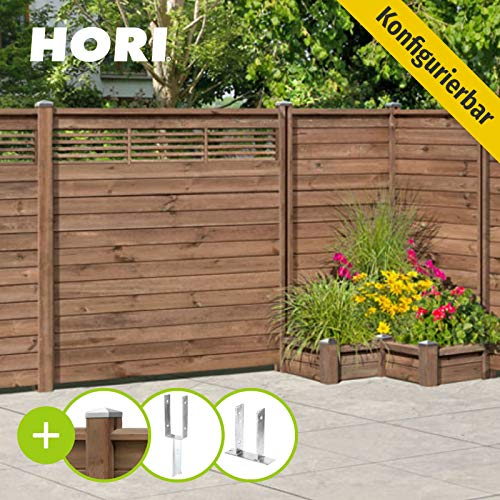 HORI® Holz-Steckzaun GARDO 180 x 180 cm...