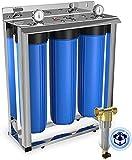 3-Stage 20' Whole House Big Housings Blue Color Filtration System by Aquaboon+Freestanding Steal Frame+Pressure Gauges+KDF Filter+Carbon Block+Sediment Filter Cartridges