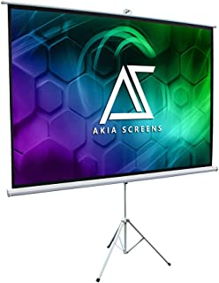 Akia Screens 100 inch Portable Indoor Outdoor 4:3 Tripod Projector Screen 8K 4K Ultra HD 3D Ready Pull Up Collapsible Screen with Adjustable Tripod Stand Foldable White Projection Screen AK-T100SB1