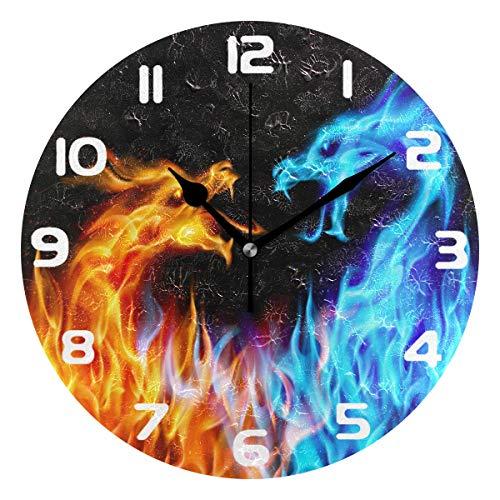 Hunihuni Wanduhr Eisfeuer Tier Drache leise nicht tickende Uhr für Schlafzimmer Wohnzimmer Home Office Decor