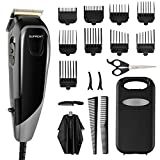 Hair Clippers SUPRENT Corded Hair Clippers for Men, 21-piece Hair Cutting Kit with 27 Cutting Length, 10 Guide Combs, Scissor, Storage Case