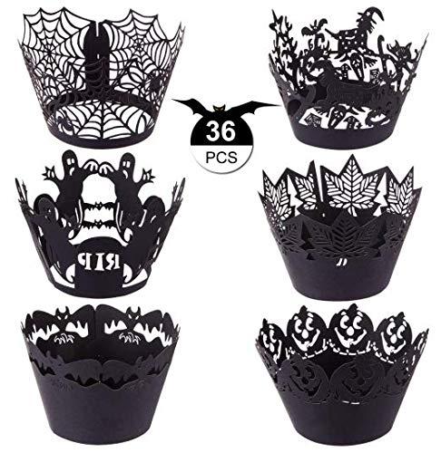 GWHOLE Halloween36枚セット ハロウィンカップケーキラッパー マフィン 飾り付け カップケーキ カバー クモの巣 カボチャ 幽霊 コウモリ 紅葉 城6種類