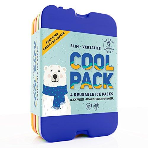 Lot de 4 blocs réfrigérants pour boîte à déjeuner - Réfrigérante originale - Fin et durable - Pour votre déjeuner ou sac isotherme