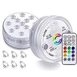 KJOY 4 luces LED sumergibles con mando a distancia RF, imanes, ventosas, funciona con pilas, luz subacuática IP68, 13 LED 16 luces cambiantes de color para jarrón fuente de acuario, Round,...