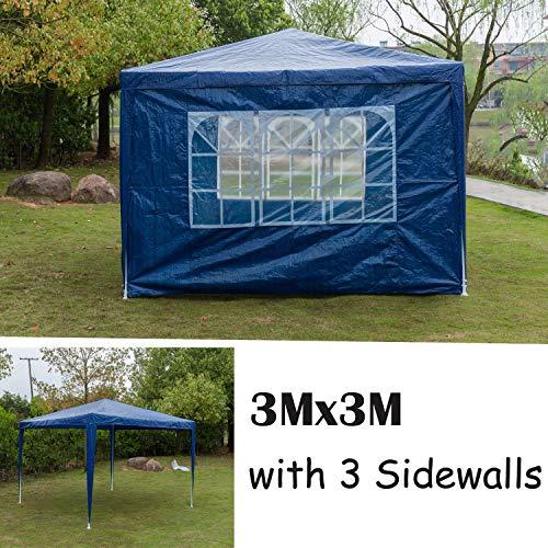Küchenks 3x3m Garden Gazebo Marquee Tent with 3 Side Panels, Fully Waterproof, Powder Coated Steel Frame for Outdoor Wedding Garden Party, w/o Door, Blue