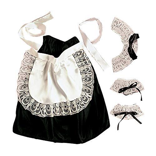 Widmann AC1578 6665C - Kostümset Hausmädchen, Kopfbedeckung, Halsband, Manschetten, Rock, Schürze, Kellnerin, Mottoparty, Karneval