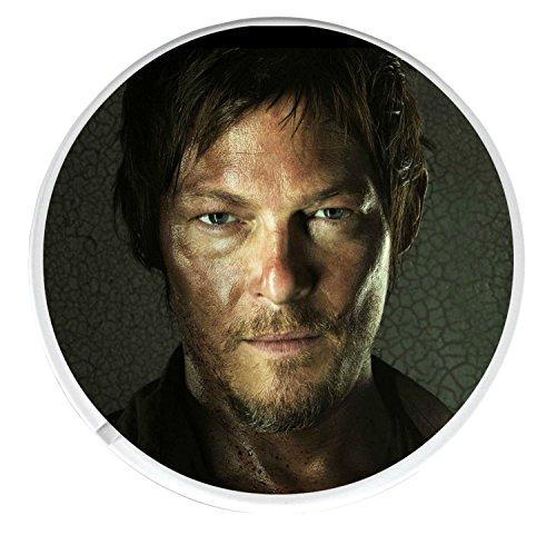 Posavasos redondo único con una foto de Daryl Dixon interpretada por Norman Reedus en The Walking Dead.